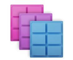 3 Stück Rechteckige Silikon-Förmchen, SENHAI 6-cavity Schalen Pfannen Kuchen Backen, Schokolade Biscuit Eiswürfel, Seife, Pink, Blau, Violett