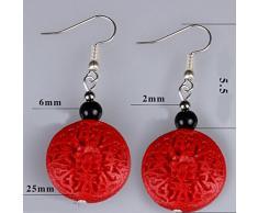Rot Braut Ohrring Hochzeit Küchenutensilien auspacious two-side geschnitzt Lackkunst Ornament Ohrring ohne Ohr Loch Clip