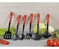 Esmeyer 290-268 6-teiliges Küchenhelfer Set SVEN Set besteht aus: Je 1 perforiertem Servierlöffel, Schaumlöffel, Suppenschöpfer, Spaghettiheber,