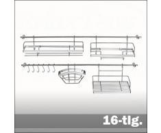Küchen-Multifunktions-System - Küchenreling - Küchenleiste für Küchenhelfer Edelstahl 16-tlg.