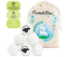 [Einführungsangebot 2020] Farrell Brec [6 XXL] extra langlebige Trocknerbälle für Wäschetrockner - natürlicher Weichspüler aus 100% neuseeländischer Schafswolle - in Handarbeit – optimal für Daunen
