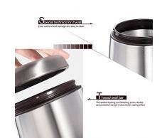 E-PRANCE Kaffeedose Vorratsdose Edelstahldose mit Löffel, für Kaffeebohnen/-pulver, Tee, Nüsse, Kakao, Magnet im Deckel, Edelstahl silber 1,5L