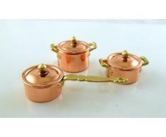 Town Square Miniatures - Puppenhaus Miniatur Küche Zubehör Kupfer Gold Topf Set