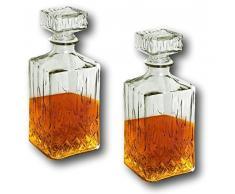 2 x Whisky Karaffe mit Verschluß Deckel Whiskey Scotch Cognac Likör Wein Glasflasche Glas Flasche 900ml