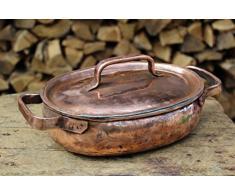 handgemachter Kupfertopf, niedrig oval
