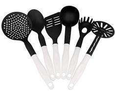 Lantelme 3969 Kochbesteck Set 6 tlg. Küchenhelfer schwarz/weiß Hitzebeständig und Spülmaschinenfest