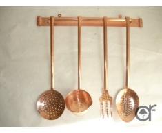 Set Kellen Aufkleber Pfannen aus Kupfer 4 Stück mit Wandhalterung