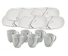 Frühstücksset 12tlg. Silver Night für 6 Personen - 6 Teller und 6 Becher aus weißem Porzellan mit grauen / schwarzen Linien