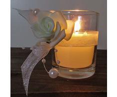 K7plus® 4er Teelicht mit Kerze im Glas mit Schleifen, Perlen + Dekoband - 4 x Rose - wunderschöne weisse Tischdeko für Hochzeiten, Feiern, Feste (4 x Rose im Glas)