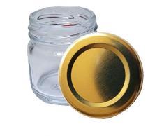 HAUSWIRT 80 Stück X 40ml Einmachgläser • Einkochgläser mit Schraubdeckel to 43 mm Gold • 10, 20, 40, 60, 80, 100, 120, 140, 160 Stück • Große Auswahl Verschiedene Größen und Farben