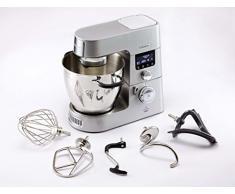 Kenwood Cooking Chef Gourmet KCC9060S Küchenmaschine (mit Kochfunktion, Induktionskochfeld von 20, 180°C, 24 voreingestellte Programme, 6,7 l Rührschüssel, 1500 W, inkl. 9-teiligem Set) silber