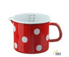 matches21 Kleiner Email Topf Milchtopf rot gepunktet mit Skala Messbecher Emaille Geschirr je 12 cm / 1000 ml
