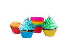 Relaxdays Muffinförmchen aus Silikon, 24 Backformen für Cupcakes, flexible Silikonformen, wiederverwendbar, bunt
