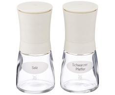 WMF Trend Salz und Pfeffermühle-Set 2-teilig, befüllt, Keramikmahlwerk, Kunstoff, Glas, Gewürzmühle für Salz, Pfeffer, Chillischoten, getrocknete Kräuter, H 14 cm, Ø 6 cm, weiß
