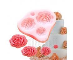 4-er Silikon-Form zum Backen und Basteln, Form Rosen, für Zuckerguss- / Kuchen-Deko, Fondant, Fimo-Knete