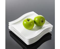 Malacasa, Serie Flora, 26-teilig Geschirrset Kombiservice aus Weißen Porzellan im Klassischen Design mit 6 Schalen, 6 Dessertteller, 6 Suppenteller, 6 Speiseteller und 2 Rechteckigen Platten