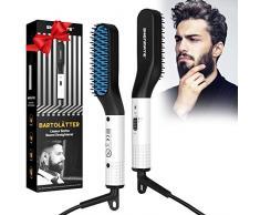 Bartglätter für männer, Bart Glätteisen Multifunktionale Schnelle Haarglätter Bürste für Bart und Haar, Elektroheizung Bartkamm Anti Verbrühen, 2 Einstellbare Temperatur bis zu 200°C