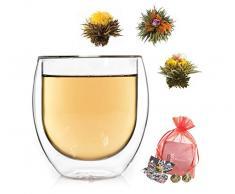 Feelino 1x 410ml Jumbo XXL doppelwandiges Thermoglas + 3x BIO-Teeblumen aus weißem Tee mit natürlichen Blüten/doppelwandiges Thermo Glas mit Schwebe-Effekt