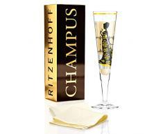 RITZENHOFF Champus Champagnerglas von Carolin Körner, aus Kristallglas, 200 ml, mit edlen Gold- und Platinanteilen, inkl. Stoffserviette