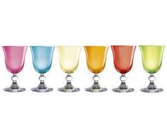 H&H Mediterraneo Set Weinkelche, Glas, Gemischte Farben, 15 cl, 6 Stück