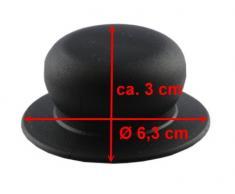 Kerafactum® Griff Set Ersatzgriff für Topfdeckel 3 Stück Deckelgriff Ersatzteil - Farbe: mattschwarz und Ø von 6 cm