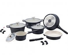 Keramik Kochgeschirr-Set 14-teilig Schwarz TV-Werbung Royalty line Kochtopf Set mit Glasdeckel CONCEPT DESIGN Kochtopf Pfanne Induktion