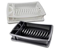 Centi Geschirrabtropfkorb 2-teilig ( Korb mit Tablett ) 9 x 39,5 x 30 cm, weiß oder anthrazit, Polypropylen
