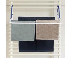 Relaxdays, weiß Hängetrockner, Wäschetrockner zum hängen, Heizkörper und Balkon, großer Wäschehalter, 4,8 m Trockenlänge