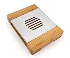 Stövchen Tee- und Kaffeewärmer Speisewärmer Tellerwärmer aus Bambus und Edelstahl 28 x 21 cm