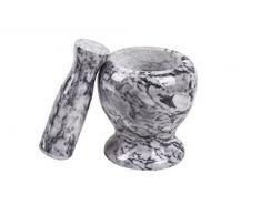 Edler Mörser aus Marmor oder Granit (Ø x H): ca. 10 x 11 cm, Innendurchmesser ca.7 cm, ca. 1,5kg, auch als edles Geschenk geeignet (Weiß)