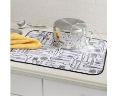 iDesign iDry Abtropfmatte extragroß, dünne Spülbeckenmatte aus Polyester zum schnellen Trocknen von Geschirr, weiß/schwarz