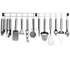 Kitchen Artist MEN110 Küchenleiste/Küchenschiene, inkl. 12 Küchenutensilien/Küchenhelfern, Edelstahl