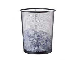 Relaxdays Papierkorb Metall, großer Papiereimer fürs Büro, Mülleimer Mesh 20 Liter, Draht, 30 cm Ø, 35 cm hoch, schwarz