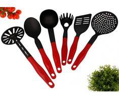 6 tlg. Küchenhelfer Set schwarz / rot Hitzebeständig Kunststoff bis zu 260 °C mit Pfannenwender Spaghettilöffel Kartoffelstampfer Service Löffel Suppenkelle und Schaumkelle . Spülmaschinenfest