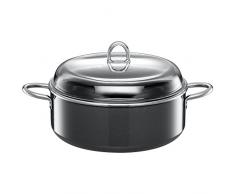 Silit Schmortopf mit Glasdeckel 28 cm, Bräter mit Glasdeckel, Kochtopf 6,0l, Silitstahl Funktionskeramik, Induktion, grau