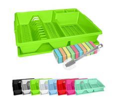 WELLGRO Abtropfgestell, Reinigungsbürste und 10 Schwämme - ca. 44 x 35 x 9 cm (LxBxH) - Abtropfgitter - Abtropfschale - Geschirrständer - Geschirrkorb - Abtropfkorb, Farbe:Grün