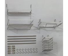 Küchen-Ordnungssystem Wandharkenset Küchenutensilien-Set 15-tlg Edelstahl Reling