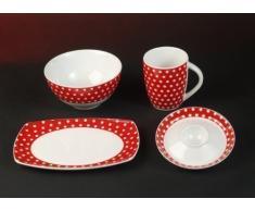 Kasva Punkte Dekor Rot Weiss Frühstück Service 4 teilig Porzellan Set für 1 Person Neu Rund