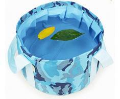 Klapp-Eimer Faltbare Waschbecken Wasser Ort Kit Camo Blau