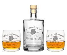 4 Edle Whiskeygläser mit Whiskeykaraffe und Gravur Gentleman Whisky-Set graviert