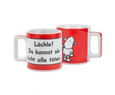 Sheepworld Wortheld Tasse 42031, mit Spruch Lächle, Porzellan, Rot