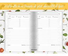 Dékokind® Leeres Kochbuch: Für über 80 Lieblingsrezepte || Ca. A5 Softcover || Rezeptbuch zum Selbstgestalten / Selberschreiben mit Inhaltsverzeichnis || Motiv: Kochbesteck
