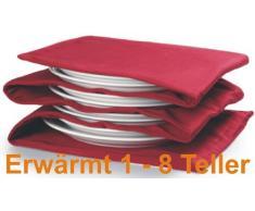 Tellerwärmer, wärmt 1-8Teller, Wärmefläche pro Teller ca. 30x30cm (Tellervorwärmer, rot)