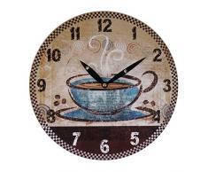 Zeitlose Wanduhr Ø 29cm Landhausstil Shabby Vintage Antik Küchenuhr Holzuhr Deko, Motiv:Tasse