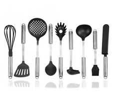 Küchenhelfer-Set 9 tlg.aus Edelstahl & Nylon Kochbesteck Zubehör