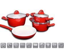 JOLTA® / Schäfer 7 tlg Topfset Keramik Besichtigung Kochtopfset Kochtopf Set Pfanne Topf (Rot)