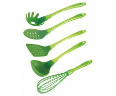 5-tlg. Küchenhelfer Set grün - Schöpfkelle, Pfannenwender, Schneebesen, Spaghettilöffel, Schaumlöffel - Kelle - Bratenheber - Schaumkelle