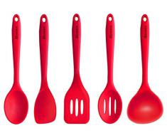 Homdox 5 Stück Silikon Küchenbesteck Kochbesteck Küchenzubehör Küchenhelfer Set, Hitzebeständig, rot