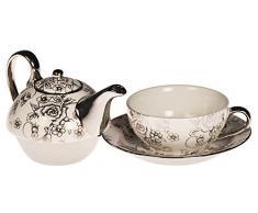 TEA FOR ONE Teeset Teekanne weiß silber Teetasse Untertasse Teekännchen Kanne