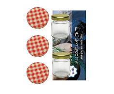 20 Sturzgläser Mini 53 ml Rundgläser Honig Kaviar Marmeladengläser Obstgläser Einmachgläser Einweckgläser To 43 Rot Karriert Vitrea Rezeptflyer